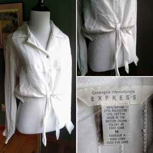 Vintage Express Hong Kong made crop top with tie